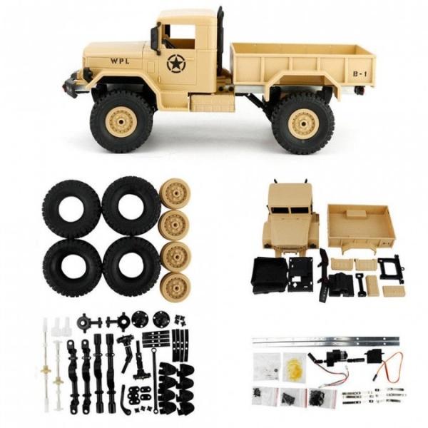 Military truck WPL B-14K 1:16 4x4 - KIT stavebnice - žlutý