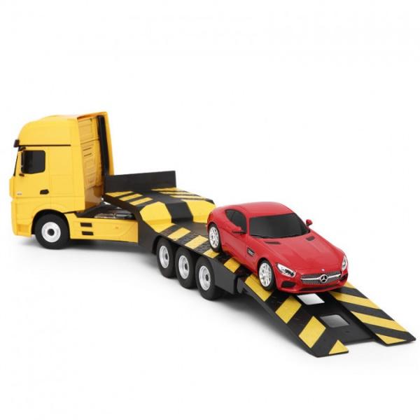Kamion 2v1 Mercedes-Benz Actros + AMG GT3 1:24  - žlutý