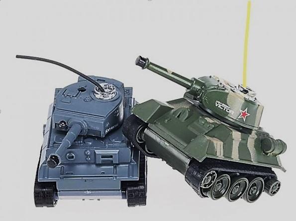 Bojující RC mini tanky - 2ks v balení - Tiger vs T-34 - opotřebovaní, nepřijímají střely