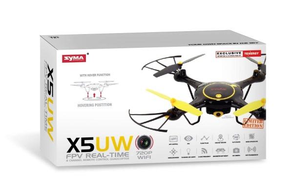 SYMA X5UW - WIFI-HD kamera + barometr + super ovládání telefonem ČERNÁ
