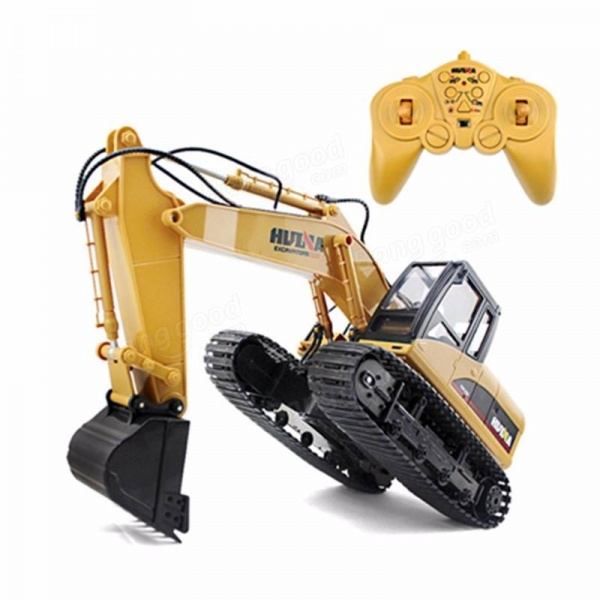 Huina Toys RC Supersilný bagr s kovovou lžící 15 kanálů RTR žlutá 1:14