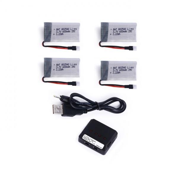 4x 600mAh 3,7V + nabíječka na 4 baterie