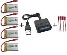 4x 650mAh 3,7V + nabíječka na 4 baterie + 4x redukce