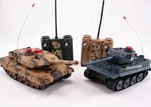 Sada bezpečných infra tanků 1/32, 2v1 - Tiger plně funkční. Abrams na díly