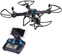 LIDI-5 - velký dron s WiFi-HD pohyblivou kamerou a barometrem - červená, zánovní, chybí nabíječka, nohy a držák na telefon